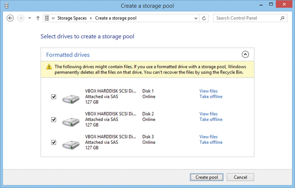 Figure 1 The Disk For A Storage Pool Can Be Formatted Or Unformatted But Data On It Will Deleted