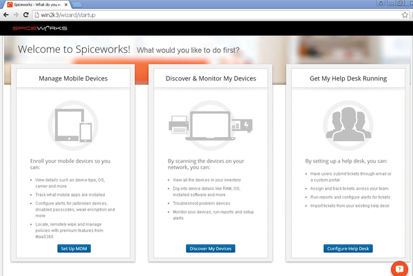 Figure 4: Selecting A Starting Point From The Spiceworks Startup Page.